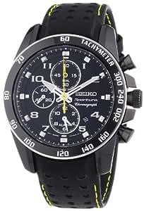 Seiko Herren-Armbanduhr XL Sportura Alarm-Chronograph Chronograph Quarz Leder SNAE67P1