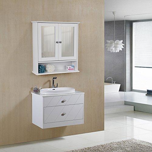 Spiegelschrank mit Ablage aus Holz 56cm - 3