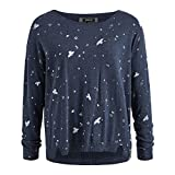 khujo Damen Pullover AILIN mit Allover-Print, midnight blue melange, Gr. L