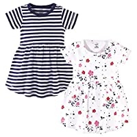 توتشد باي ناتشر فساتين من القطن العضوي للفتيات (الاطفال بعمر الرضاعة، الاطفال الصغار، وعمر الشباب) Floral Breeze Short Sleeve 2-pack 3T