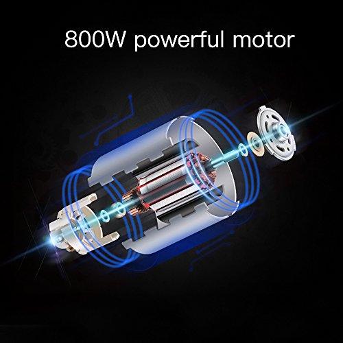 Proscenic 800W Batidora de Mano 4 en 1,  9001B,  Tecnología Smart Speed,  y función de Turbo, BPA Free,  con Vaso de Mezclas,  Picador,  Varilla batidora, Color Negro y Plata