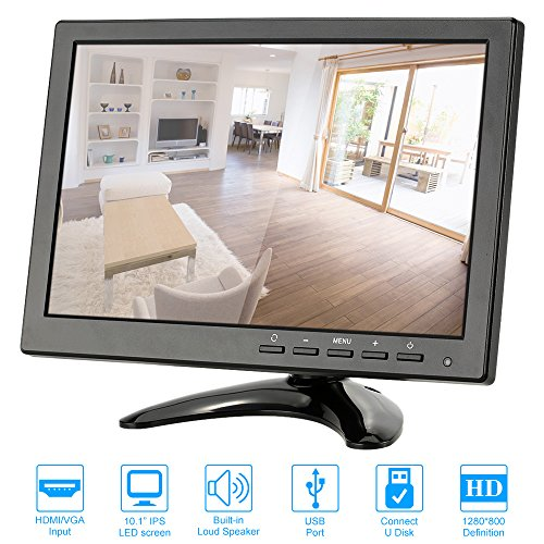 KKmoon 10,1 Inch HD 1280 * 800 Moniteur à LED IPS avec Ports HDMI/VGA/BNC/AV/USB Télécommande Support HDMI 1080p/1080i Haut-parleur U Disque PAL/NTSC Adaptative pour CCTV Caméra Surveillance Système