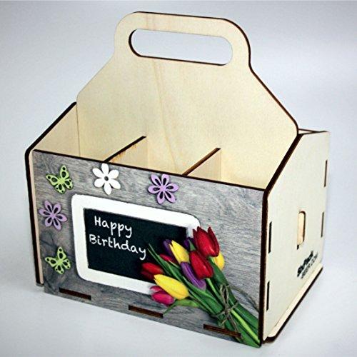Bierträger aus Holz - SixPack - Geburtstag - Geschenke-Männer-Frauen - Grillen (Happy Birthday mit Tafel)