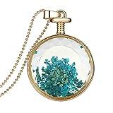 AnaZoz Joyería de Moda Collar de Mujer Aleación Colgante Collar Botella De Perfume Flores Secas Azul Forma Redonda Collar Para Mujer