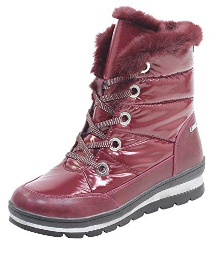 CAPRICE Damen Winterstiefel 26221-21,Frauen Winter-Boots,Fellboots,Fellstiefel,gefüttert,warm,Tex Decksohle,4cm,Bordeaux Comb,UK 5