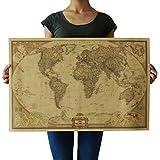 Souarts Peinture Carte Géographie Mondiale Papier Peint Kraft Décoratif 72.3cmx48cm 1Pc