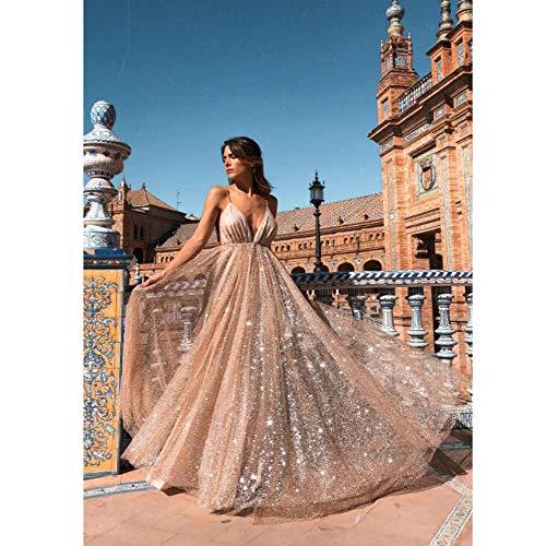 eb6bc5b5cce01 TUWEN Frauen Reizvolles Langes Elegantes Kleid Mit V-Ausschnitt Und Langem  Abendkleid