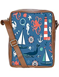 Snoogg Set Of 4 Nautical Cards Sling Bags Crossbody Backpack Chest Daypack Travel Bag Book Bag For Men&Women