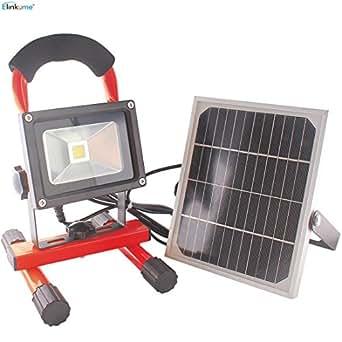 ELINKUME 10W Projecteur LED Lampe solaire Lampe baladeuse Lampe de travail Lampe de travail rechargeable Portable, Projecteur, blanc