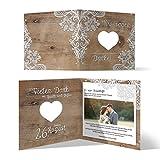 Lasergeschnittene Hochzeit Danksagungskarten (60 Stück) - Rustikal mit weißer Spitze - Dankeskarten