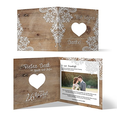 Lasergeschnittene Hochzeit Danksagungskarten (30 Stück) - Rustikal mit weißer Spitze - Dankeskarten