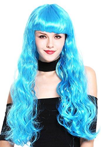 40 Perücke Damen Karneval Fasching sehr lang wellig Pony blau Popstar (Perry Perücken)