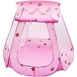 BelleStyle Tente pour Enfants, Pop Up Princess Ball Pit Pool Tente Maison pour Enfants Utilisation intérieure et extérieure (Rose)