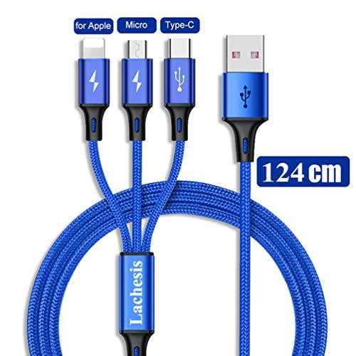 Multi USB Kabel, 3 in 1 Mehrfach Universal Kabel mit USB Typ C Kabel und Micro USB Ladekabel, 1.4M Nylon Mobiles Datenkabel für alle Smartphone (Schwarz) Usb Universal Mobile