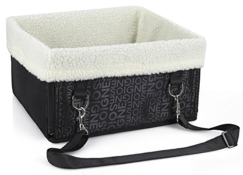Hmcity Foldable Pet Dog Cat Car Booster Seat Bag Carrier Tote Travel Bed Luxury Lookout Dog Booster Car Seat Carrier with Fur DOG PET PUPPY TRAVEL CAGE BOOSTER