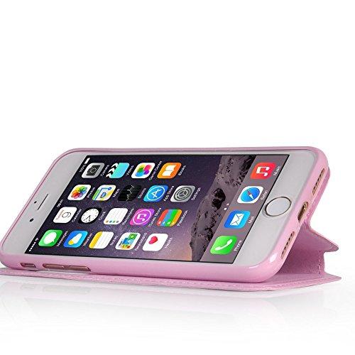 UKDANDANWEI Apple iPhone SE [Rr] Hülle Case - Magnetisch Leder Tasche Flip Case Cover Schutzhülle Etui Hülle Schale mit Fenster Ansicht Für Apple iPhone SE - Schwarz Rosa