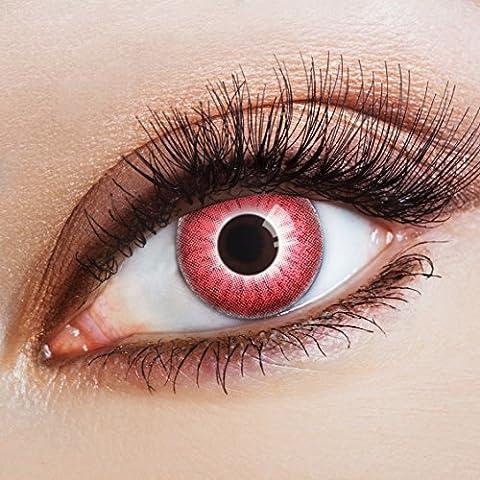 aricona Farblinsen Farbige Kontaktlinse Red Fire – Deckende Jahreslinsen für dunkle und helle Augenfarben ohne Stärke, Farblinsen für Karneval, Fasching, Motto-Partys und Halloween (Red Devil Kostüm Für Kinder)