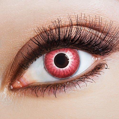 aricona Farblinsen Farbige Kontaktlinse Red Fire   - Deckende Jahreslinsen für dunkle und helle Augenfarben ohne Stärke, Farblinsen für Karneval, Fasching, Motto-Partys und Halloween - Red Zombie Kostüm Kontaktlinsen