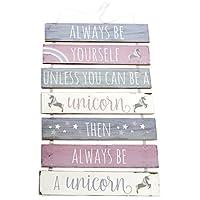 7 Tier Hanging Wooden Unicorn Plaque Sign ~ Always Be Yourself