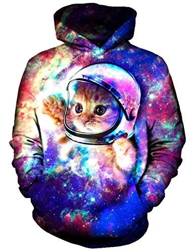 ALISISTER Hoodie Herren Damen Neuheit Galaxis Katze Kapuzenpullover Sweatshirt Coole Drawstring Taschen 3D Kapuzenjacke Hoody L/XL -