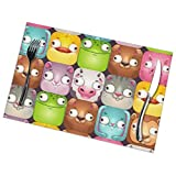 Funny Seamless Pattern with Comic Cartoon Animal 1218inch Placemats Set of 6 for Dining Table Washable Polyester Placemat Non-Slip Heat Resistant Kitchen Table Mats Easy to Clean