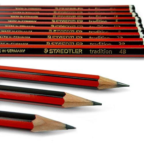 Staedtler Tradition, 12 matite per disegnare e per schizzi, set delle gradazioni più popolari:6B 5B 4B 3B 2B B HB F H 2H 3H 4H