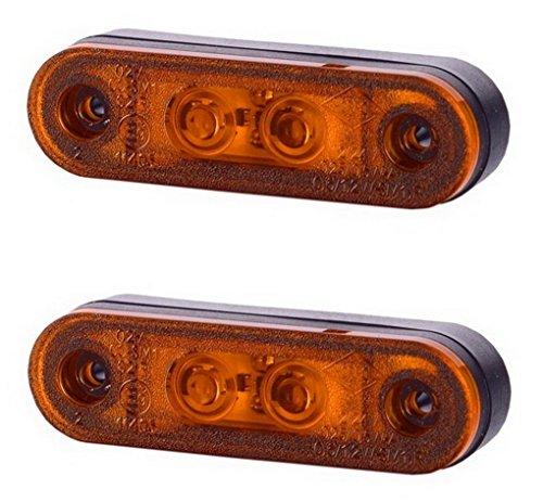 2 x 2 SMD LED Orange Begrenzungsleuchte Seitenleuchte mit Gummi-Pad 12V 24V E-Prüfzeichen Positionsleuchte Auto LKW PKW KFZ Lampe Leuchte Licht Gelb