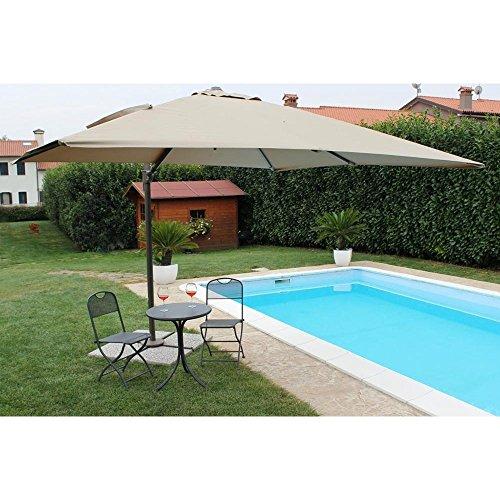 Ombrellone da Giardino 3 X 4 Palo Laterale Nero Telo Beige per Esterno Ristorante, Gelateria Bar Hotel Albergo