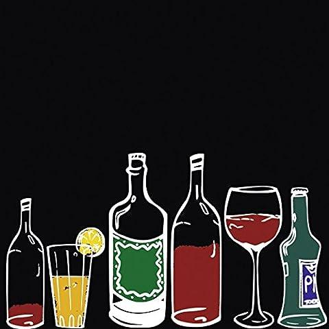Artland Küchenrück-Wand Spritzschutz Hightech-Aluminium-Verbundplatten Jule Farbige Flaschen und Gläser auf schwarzem Hintergrund Ernährung & Genuss Getränke Illustration Schwarz/Weiß