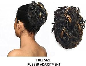 Stylera Women's Curly Bridal Rubber Hair Bun Wig(Golden Brown, Free Size)