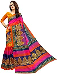 Glory Sarees Women's Bhagalpuri Art Silk Cotton Saree With Blouse Piece(Pink And Blue ,Free Size)