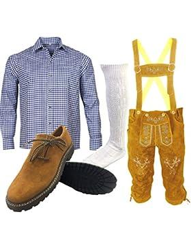 B2 Trachtenset (Hose +Hemd +Schuhe +Socken ) Bayerische Lederhose Trachtenhose Oktoberfest Leder Hose Trachten