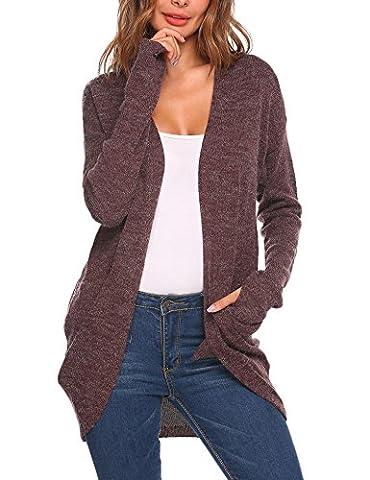 Meaneor Damen Cardigan Strickjacke Pullover Mantel Outwear Tops Strickmantel Strick Loose Hersbt Winter mit Tasche