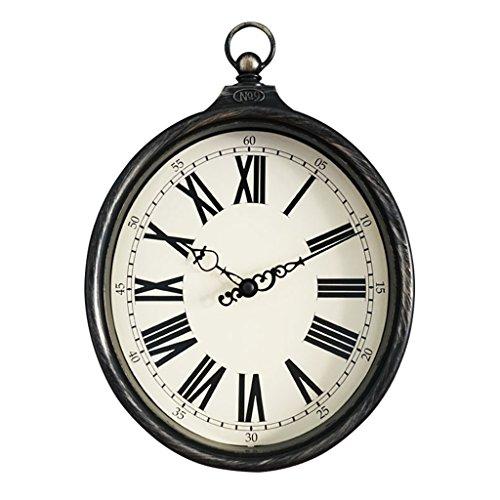 Nclon Vintage Horloge Murale,Silencieux Silencieuse Imitation Fer Pays Américain Quartz Horloge Murale Ovale Blanc 32 * 20 * 5 Cm