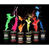 Neon Glow in the Dark (Body Art Paint) #1 Premium Set (6 pack of .75 oz. bottles) Glows Brighter, UV Blacklight Reactive- Safe and Non-Toxic! Fluorescent Set Dries Quickly, Goes on Smooth, Not Clumpy
