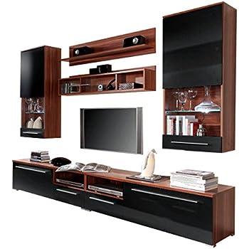 moderne wohnwand vitrine anbauwand wohnzimmer mÖbel weiß: amazon ... - Moderne Wohnzimmer Schrank