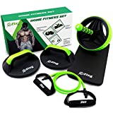 Premium Quality Exercise Equipment Set by Zizz Fit - 1x Ab Roller, 2x Push Up Bars 1x Resistance Tube with Handles - Total Body and Core Workout Kit for Fitness Workouts at Home, Gym, Office or Hotel