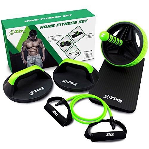 Zizz Fit - Equipo de gimnasio, rodillo para abdominales, barras de dominadas rotatorias y banda de resistencia con mangos, para fortalecer tronco, abdominales y elasticidad