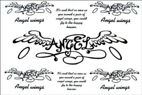 Dernières nouvelles 2012 de conception nouvelle version autocollants de tatouage imperméable à l'eau de tatouage ailes d'ange anglais fake