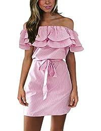 ISASSY Damen Schulterfreies Kleid Sommer Kleid Lotus Blatt Elegant Strandkleid Party Abendkleid Minikleid