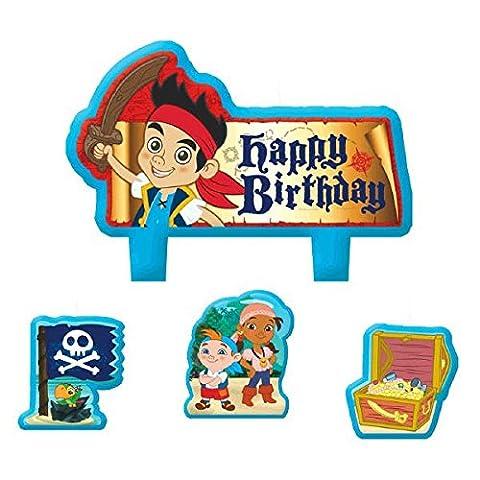 Party Time Disney© Jake und die Nimmerland Piraten Mini Charakter Geburtstag Kerze Set, Pack of 4, Multi, 3,8x 4,4cm Wachs