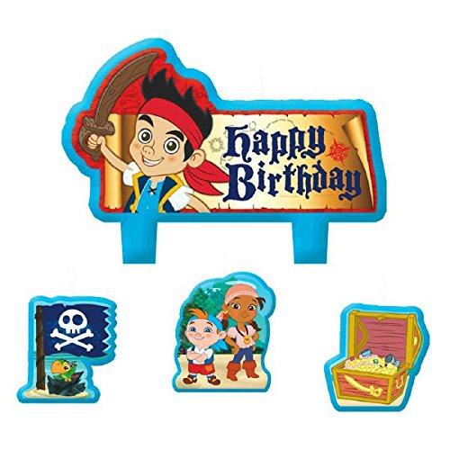 Party Time Disney© Jake und die Nimmerland Piraten Mini Charakter Geburtstag Kerze Set, Pack of 4, Multi, 3,8 x 4,4 cm ()