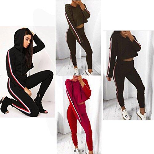 Donna Tuta Da Ginnastica 2 Pezzi Felpa Con Cappuccio+Lungo Pantaloncini Sportiva Crop Top+Pantaloni Eleganti Casuali Autunno Inverno A Strisce Jogging Pullover Rosso