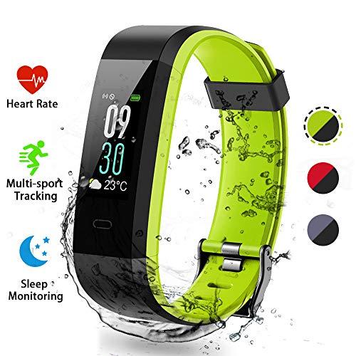 Lacyie (Rojo/Gris/Verde) Pulsera Actividad Impermeable IP68,14 Modos de Deporte, Pulsera Inteligente con GPS,Ritmo Cardíaco,Sueño,Caloriás,Notificaciones Inteligentes para iOS & Android-Regalo Ideal