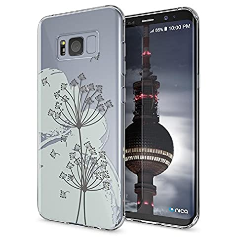 Samsung Galaxy S8 Case Phone Cover by NICA, Ultra-Thin Silicone Pattern Back Protector Soft Skin, Crystal Clear Gel Shockproof Bumper, Slim Transparent Protective for S-8, Designs:Dandelion Bubbles