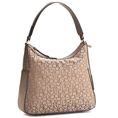 CALVIN KLEIN - Damen handtasche nina logo hobo beige (Hobo Logo Handtasche)