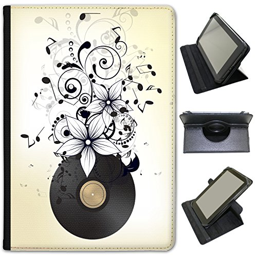 Musica Abbondanza con note in Mayhem in pelle sintetica con funzione di supporto per Huawei Tablet nero Old Vinyl LP In Notes & Flower Huawei Mediapad M2 10 inch