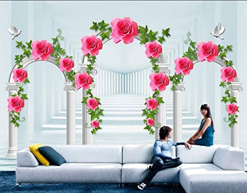 Nevso 3D Tapete Wandmalerei Fresko Wandaufkleber Europäische Perspektive Römischen Mauern 3D Hintergrundbild Blume 3D Wandbilder Tapeten Für Wohnzimmer Home Decoration200cmX140cm