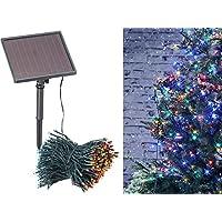 Lunartec Solar Lichterketten bunt: 4-farbige Solar-LED-Lichterkette mit 500 LEDs und Timer, IP44, 50 m (Kaltweiße Solar-Lichterkette)