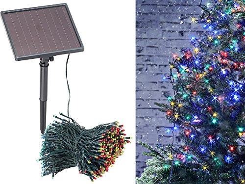 Lunartec Solar LED Lichterbaum: 4-farbige Solar-LED-Lichterkette mit 500 LEDs und Timer, IP44, 50 m (Bunte LED Weihnachtsbeleuchtung)